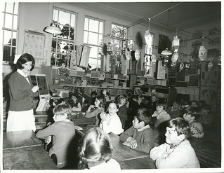 Trainee nurse gives a lesson on Dental Health Education, Mt. Albert Primary School, Auckland.