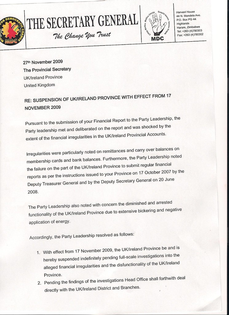 Suspension letter to MDC UK from Tendai Biti 27/11/2007 | Flickr