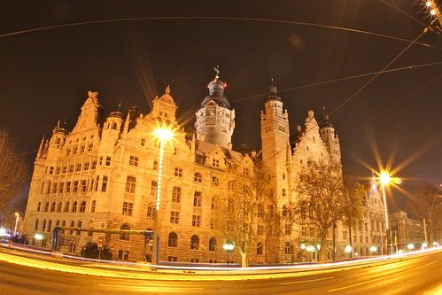 Neues Rathaus Leipzig bei Nacht
