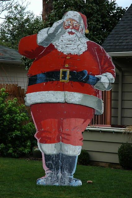 Vintage Santa Claus Salutes You, Wedgwood, Seattle, Washington, USA