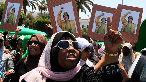 Women in Libya demonstrating in support of the revolutionary government of Muammar Gaddafi. The North African state was overthrown by an imperialist onslaught in 2011. by Pan-African News Wire File Photos
