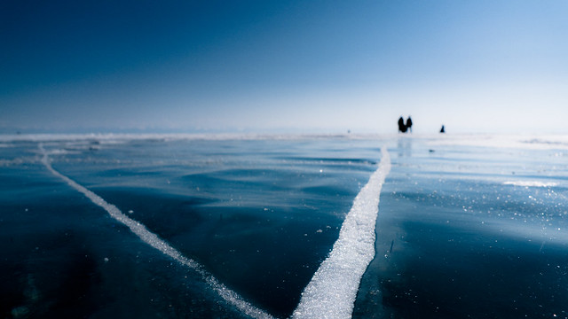 Frozen Lake Baikal - People on Ice