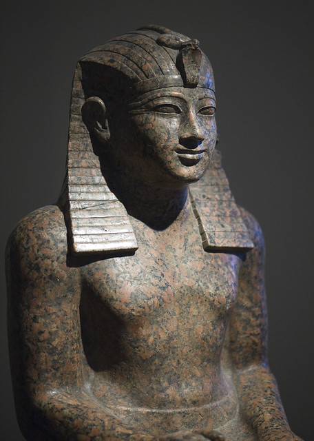 Temple statue of Khety + 19th century AD head (RMO Leiden, Karnak Amon temple Granite form Aswan, 2025bc 11d)