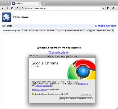 Mac Chrome 4.0.249.27 - estensioni disabilitate
