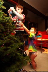 sequoia helps nick hang ornaments on the xmas tree  …