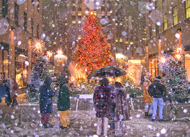 Rockefeller Center Tree Snow-Storm, NYC