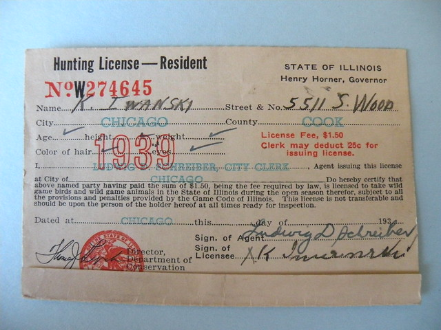 Kostanty gust iwanski 39 s 1939 illinois hunting flickr for Fishing license il
