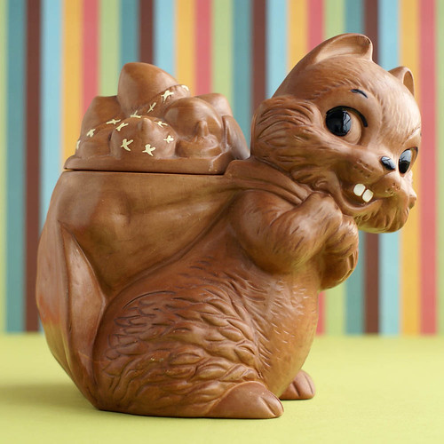 Vintage Squirrel Cookie Jar by plaidponyvintage