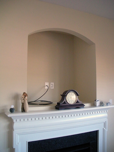 Wall decor for over tv : Our crt tv nook to built in shelving project mirror