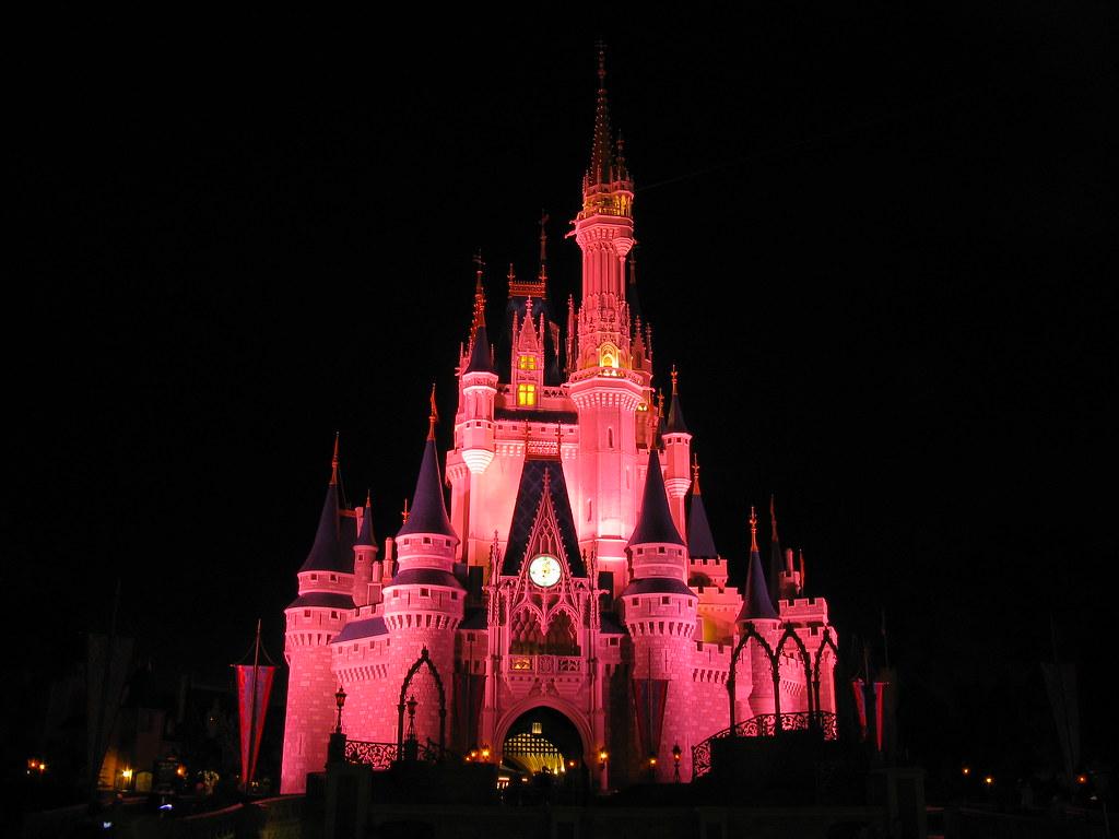 Cinderella Castle In Pink Lighting At Night Walt Disney W Flickr