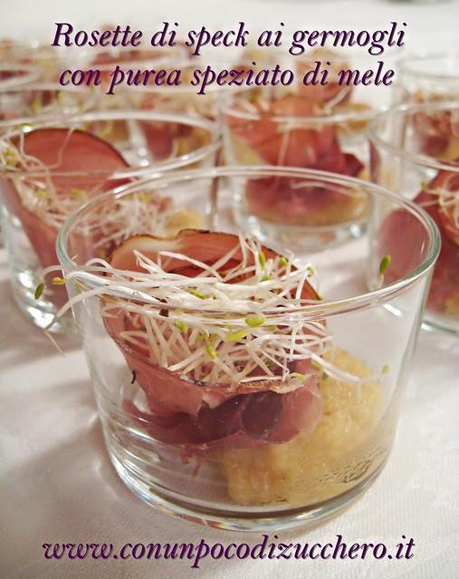 Rosette di speck ai germogli con purea speziato di mele