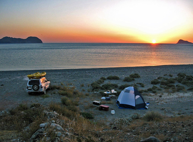 Camping on the shore of the Sea of Cortez