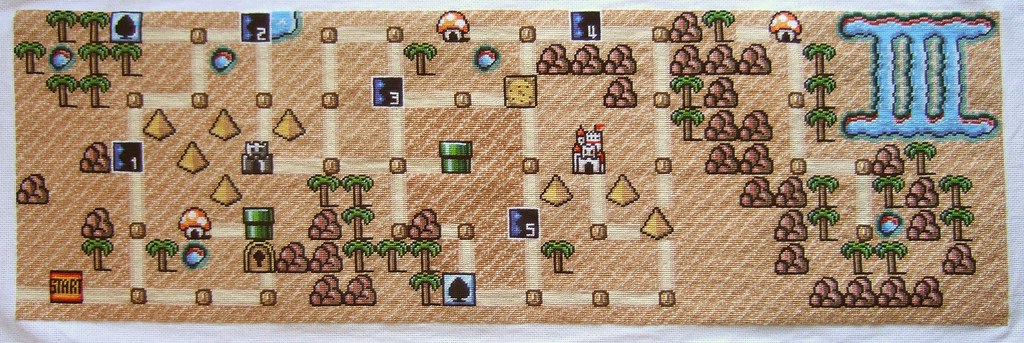 geeky cross stitch mario map