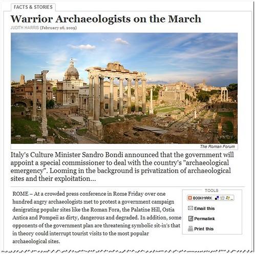 Commissario delegato per le Aree Archeologiche di Roma e Ostia Antica (2008-2010) Judith Harris, [Rome's] Warrior Archaeologists on the March [26.02.2009]).