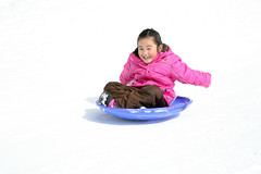 Gwen on the saucer sled