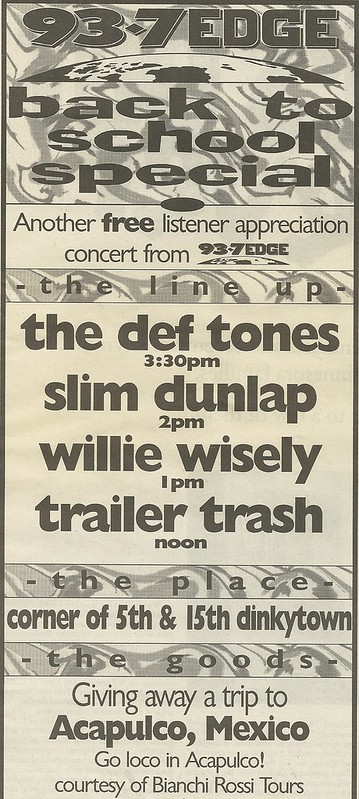 09/28/96 Deftones/ Slim Dunlap/ Willie Wisely/ Trailer Trash @ Dinkytown, Minneapolis, MN