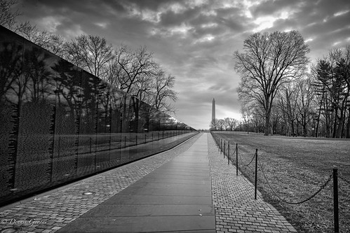 dc vietnammemorial washington washingtonmonument landscape sunrise winter districtofcolumbia unitedstates us
