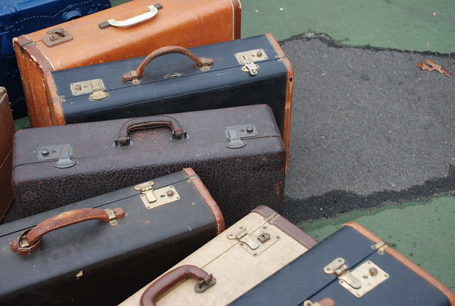 suitcases at the Brooklyn Flea