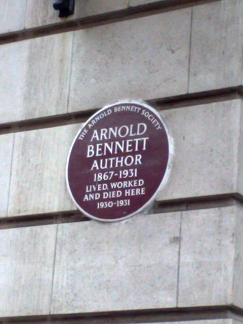 Arnold Bennett brown plaque - Arnold Bennett author 1867-1931 lived, worked and died here 1930-1931