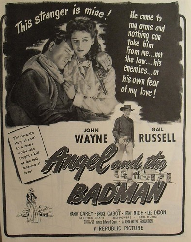 1947 VINTAGE MOVIE POSTER 1940s Angel And The Bad Man JOHN WAYNE Gail Russell Advertisement Hollywood illustration