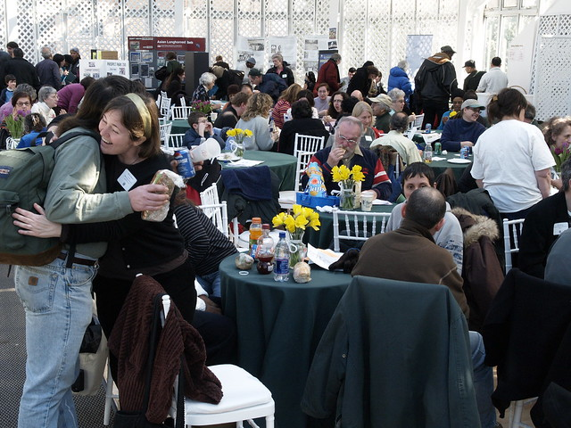 Friends connect and network in the exhibit hall of Making Brooklyn Bloom 2010.