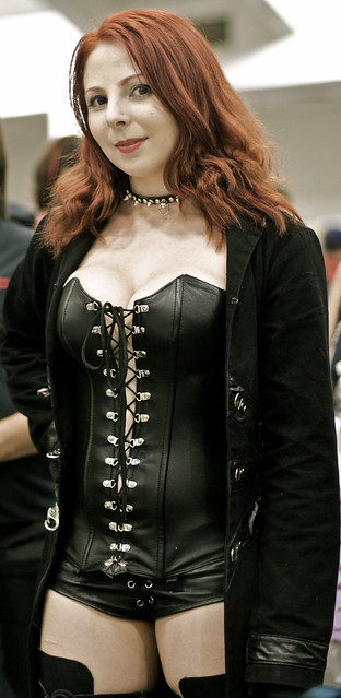 Redhead in leather