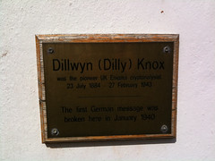 Photo of Dilly Knox brass plaque
