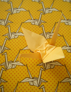 Paper Crane fabric in Yellow