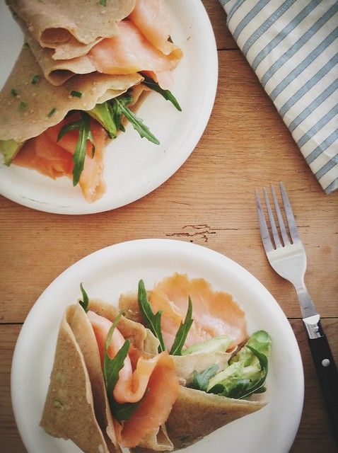 Buckwheat scallion pancakes with Irish smoked salmon, avocado and rocket