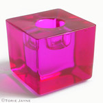 Pink Glass cube candleholder