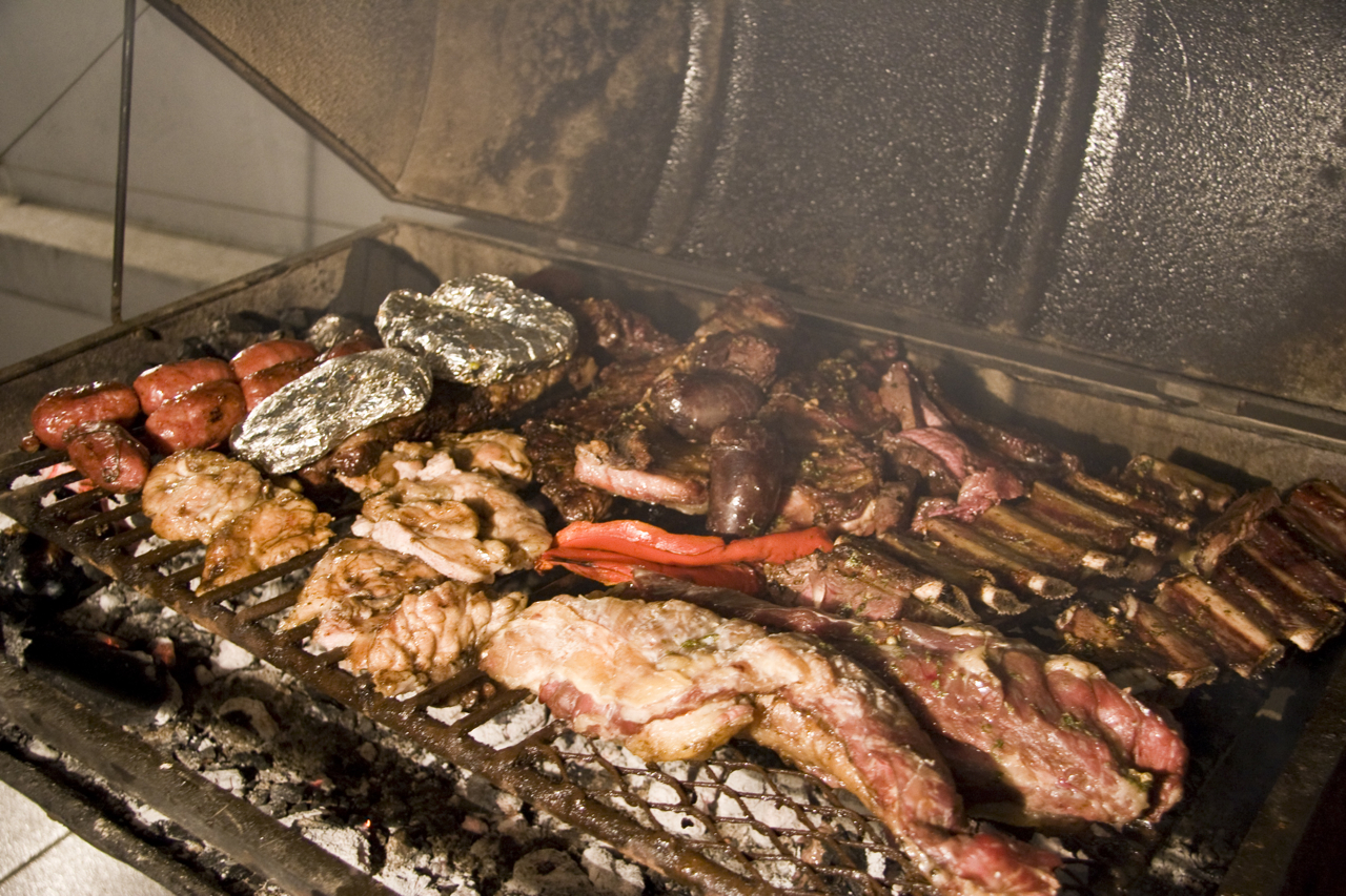 Meats on a Latin American Style barbecue, known as Asado