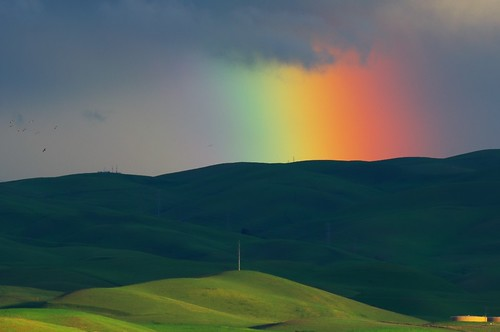 sunset storm nature grass rain clouds landscape rainbow colorful hills altamont livermoreca silkypix nikkor70300mm nikond90 roundtoad