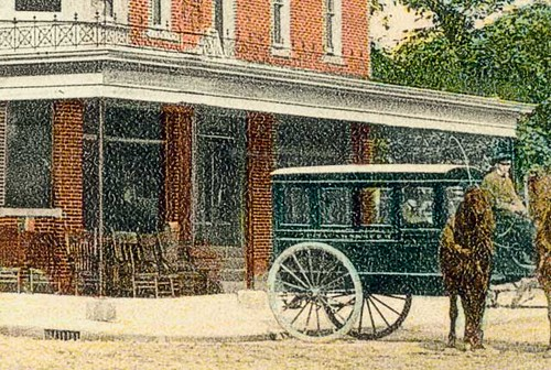 horses people usa man color men history buildings clothing workmen furniture indiana streetscene transportation porch decatur hotels adamscounty businesses wagons hoosierrecollections
