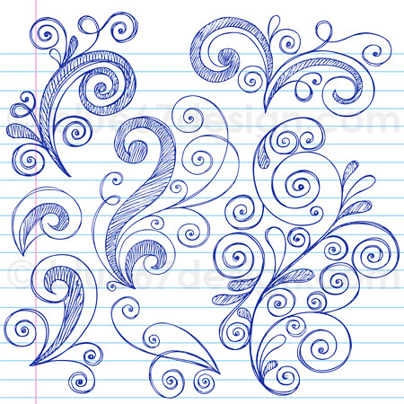 Hand Drawn Sketchy Notebook Doodle Swirly Design Elements Vector