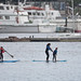 Family, Mother with two boys, sharing two stand-up paddle boards
