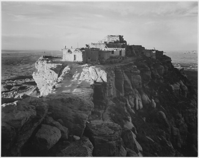 """Full view of the city on top of mountain, """"Walpi, Arizona, 1941."""""""