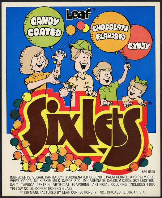 Candy Machine Vending Insert Card - Leaf Sixlets - 1980