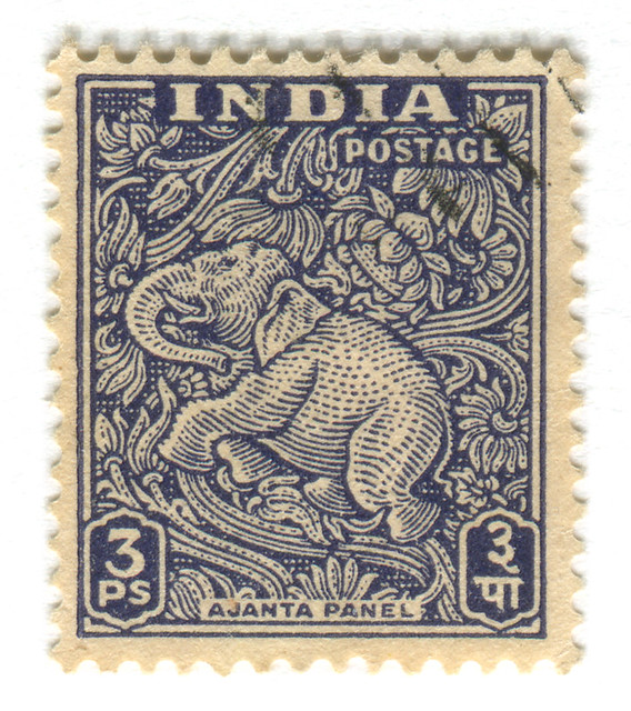 India Postage Stamp: Ajanta Caves elephant | part of stamp ...