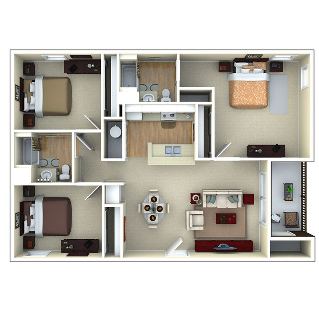 3 bedroom apartment floor plans 3d rachael edwards - Three bedroom apartment floor plan ...