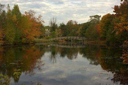 bridge autumn usa fall massachusetts plymouth foliage jennypond