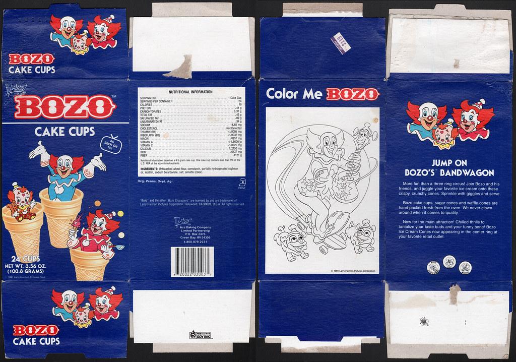 Bozo Cake Cups box - Ace Bakery - 1990's | Bozo cake cups lo