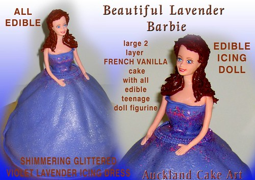 LAVENDER BRUNETTE BARBIE GLITTER PRINCESS BIRTHDAY CAKE