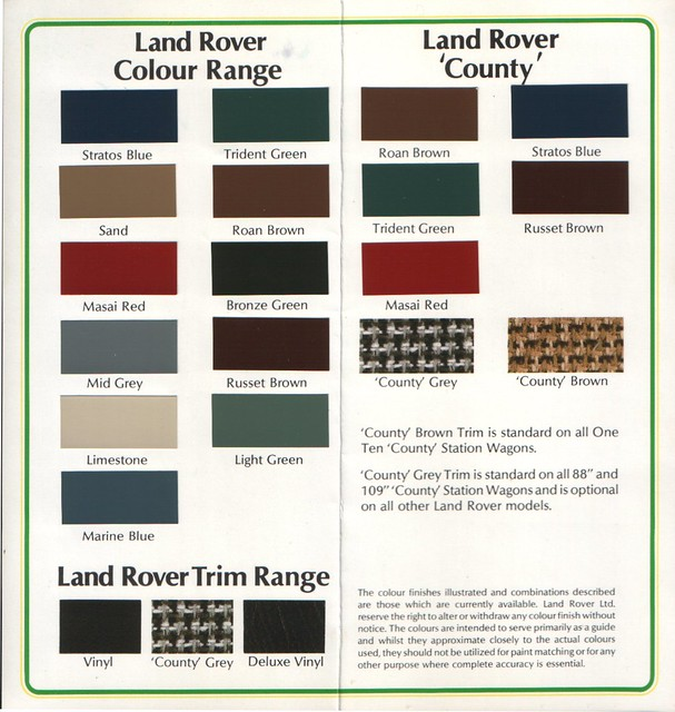 Land Rover Discovery  Paint Colours Chart
