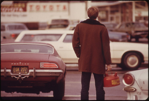 Some Motorists Ran Out of Gas Such as This Man in Portland and Had to Stand in Line with a Gas Can During the Fuel Crisis in the Pacific Northwest 12/1973