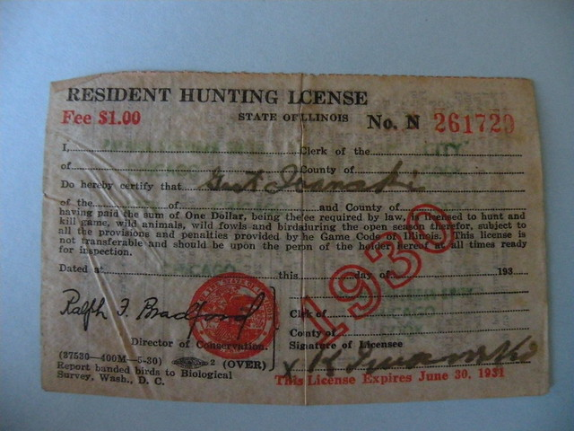 Kostanty gust iwanski 39 s 1930 illinois hunting license for Fishing license illinois