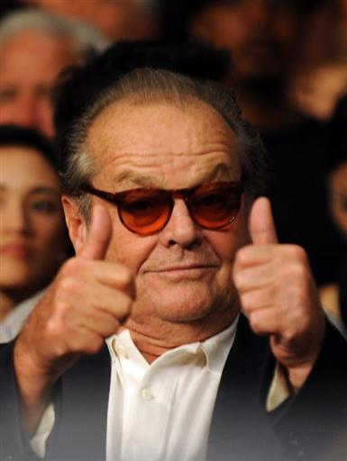 Actor Jack Nicholson attends the Junior Welterweight title fight between Manny Pacquiao and Ricky Hatton at the MGM Grand Garden Arena on May 2, 2009 in Las Vegas. (Photo: AFP)