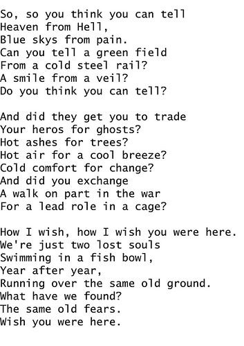 wish u were here lyrics