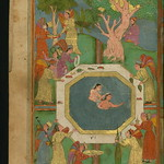 Illuminated Manuscript, Collection of poems (masnavi), Two naked girls in a pool attended by angels, Walters Art Museum Ms. W.626, fol. 101a