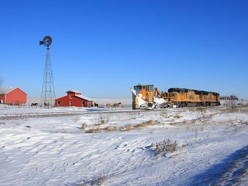 railroad train unionpacific snowplow snowplowtrain jordanspreader snowfighting unionpacfici cnwx11991 uprakesub railfanatlas