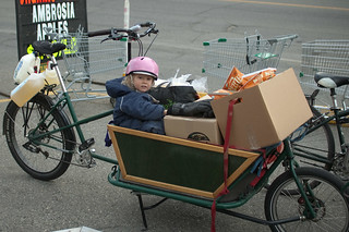 cargo bike and toddler